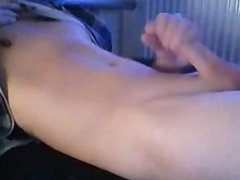 Skinny twink vidz boy shoots  super load on tummy