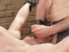 Poor dude vidz caged and  super whipped gay BDSM part3