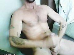 Tattooed Hairy vidz Hunk Masturbating  super part4