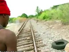Black guy vidz on white  super cock behind a dumbsters sucking away at it
