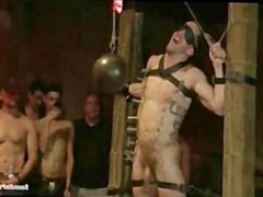 Hot stud vidz tied up  super and fucked in front of 100 horny men