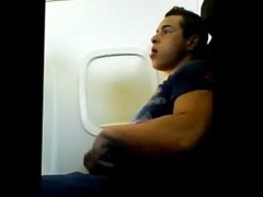 guy jerking vidz off in  super airplane seat
