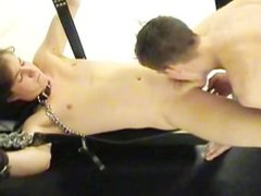 Submissive stud vidz handcuffed to  super wall and painfully ass fucked