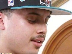 Tatted Latino vidz jerking big  super uncut dick