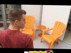 GayCastings Fashion vidz model interview  super gone wrong with a dirty couch fuck