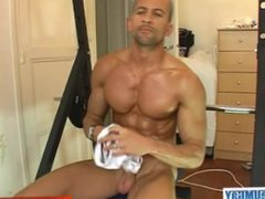 Cute sport vidz guy get  super massaged his large chest and get wanked his huge dick