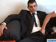 Straight guy vidz in suite  super trousers get wanked his huge cock by a guy!