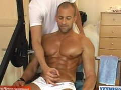 Hunk guy vidz get massaged  super his nice pecs and get wanked his huge cock