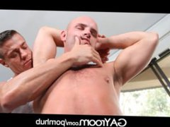 GayRoom Hairy vidz chest stud  super oiled and ass fucked on massage table