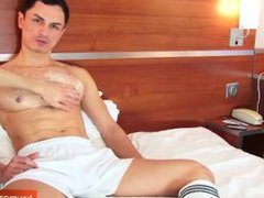 A spanish vidz hunk guy  super get wanked his huge cock by us!