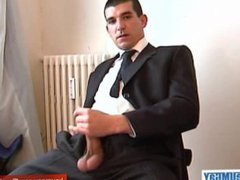 A real vidz straight guy  super in suitetrousers get wanked is verty huge cock by a guy
