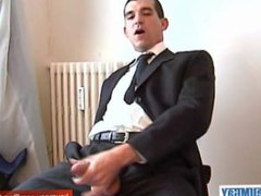A real vidz straight guy  super in suite trouser serviced: get wanked his huge cock!