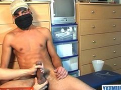 A french vidz arab straight  super guy get wanked his very huge cock by a guy !