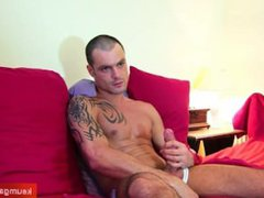 David, a vidz very handsome  super sport guy get wanked his huge cock by a guy !