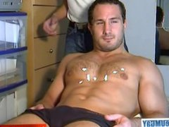 Enzo: a vidz real straight  super rugby player get wanked his huge cock by a guy!