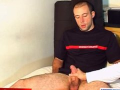 French str8 vidz firefighter gets  super wanked his huge cock by gay guy !