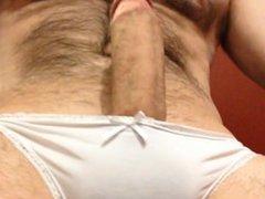 filling my vidz girlfriend's white  super panties with hands-free cum