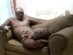 horny hard vidz tiger jerks  super off while lying in a large chair