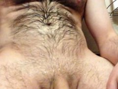 spraying a vidz fountain of  super piss on my hairy chest