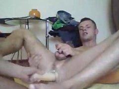 Blond boy vidz takes a  super huge dildo