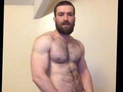 Hung and vidz hairy British  super hunk wanking