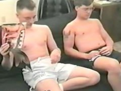 Vintage Str8 vidz roommates getting  super it on for cash- and enjoying it!