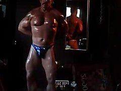 MUSCLEDAD IN vidz BLUE SHINY  super THONG
