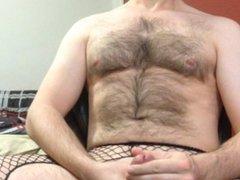jacking my vidz big hard  super cock in crotchless fishnets and panties