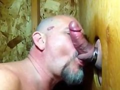 "Some guys vidz need kissing"":  super Bear sucks cock and makes out in gloryhole"