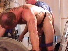 Ball Bashing vidz and Big  super Black Butt Plug in muscle hunk's butt hole.
