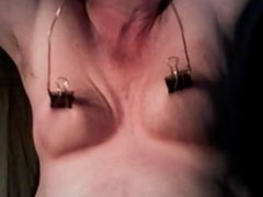 nipple clamps vidz pulling and  super stretching my tits