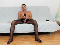 Gay guy vidz teasing his  super cock in panty-hose
