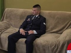 Airman in vidz uniform talks  super about coming out before giving a great cam show