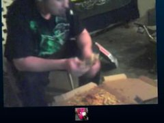 Man gets vidz nasty with  super 3 pizzas and doritos