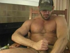Muscle hunk vidz shoots his  super load on his face