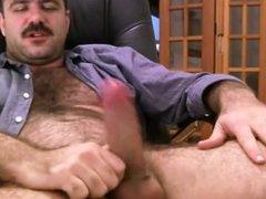 Hairy Daddy vidz Strokes Fat  super Cock & Cums