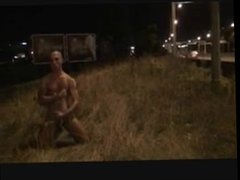 Hot fit vidz guy with  super big dick jacking and sucking next to highway