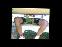 resting cyclist vidz playing with  super his bulge in his lycra shorts