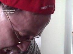 Cum Swallowing vidz Grandpa Gumjob  super on Hot Puerto Rican Cock