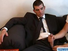 Vendor (hetero) vidz gets wanked  super his huge cock by a client to win a contract !