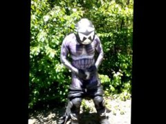 Horny biker vidz wearing crysis  super morphsuit under his leathers needs to jerk off