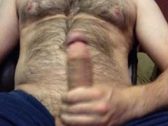 jacking off, vidz with a  super nice no-hands cumshot dripping onto my balls