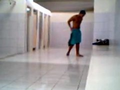 Brazilian jerking vidz off in  super public shower