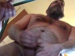Daddy Bear vidz Cums on  super mirror