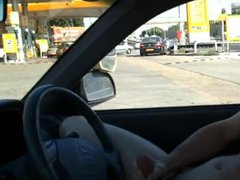 Hot Hard vidz Cock Car  super Jacking at Gas Station with HUGE cumshot