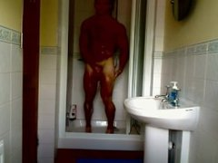 Hot Muscle vidz Hunk with  super a small cock shows off Naked in a bathroom