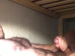 Hairy Hottie vidz stroking on  super his college bed