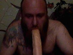Bearded guy vidz Sucks big  super dildo