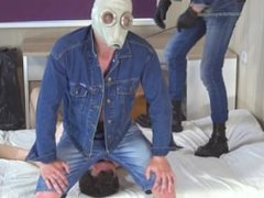 Two masters vidz in gas  super masks facesitting on a slave 2