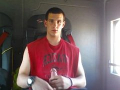 Gorgeous College vidz Jock jerking  super his huge cock and shooting a load on a tram
